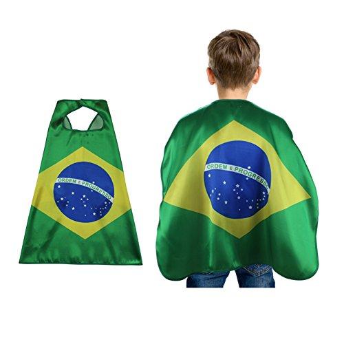 Brasilien Fahne 2018 WM, Nationalflaggen Mantel Kostüme Fußballfans Capes Outfits (Brasilien Kostüm Für Mädchen)