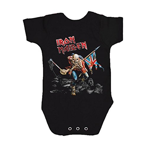 Iron Maiden The Trooper officiel Babies Noir Grenouillères (Ages 3-24months)