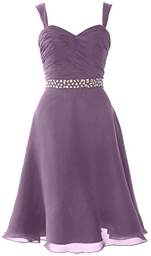 MACloth Elegant Straps Chiffon Cocktail Dress Short Wedding Party Formal Gown Wisteria