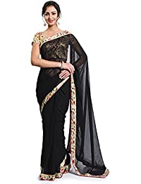 Avr Fashions Women's Chiffon Saree With Blouse Piece (Avr_Fb-Bk-Black_Black)