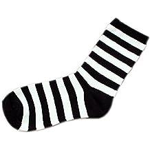 MoGist Mujer Zapatillas Calcetines Fácil clásica Negra Rayas Blancas otoño Invierno Medio Larga algodón Transpirable Medio