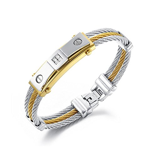 ZQZA Jewellery Mens Stainless Steel Twisted Cable Rope Wire Bangle Cuff Bracelet, Silver Gold