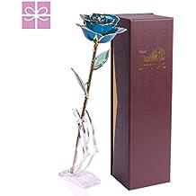 Le meilleur cadeau pour elle, une rose préservée par JTTVO, vrai rose avec longue tige couverte d'or prémium 24k, cadeau romantique pour femme, amoureuse, cadeau d'anniversaire de mariage, St-Valentin, fête des Mères, Noël, anniversaire.(avec une boite cadeau et un support)