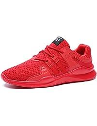 SITAILE Herren Sportschuhe Atmungsaktiv Gym Turnschuhe Leichtgewicht Laufschuhe Lace Up Freizeitschuhe Trainer Outdoor Sneaker Shoes, A- Rot, 43 EU