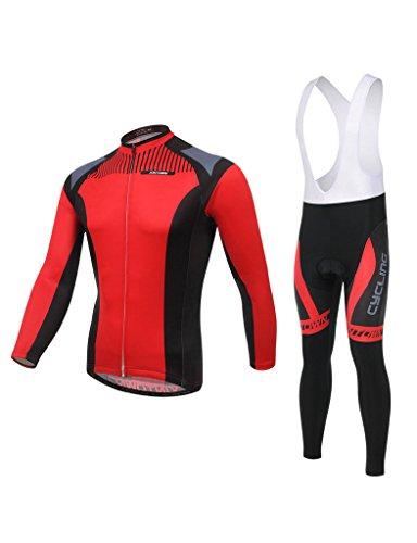 iCreat Herbest Rad-Trikots Herren / Damen Hemd mit lange Ärmeln Anzug Radbekleidung mit Fahrradhose Trägerhose COOLMAX Silikonmatte (Trägerhose Coolmax)