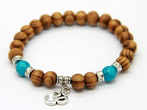 Om Holz Perlen Armband–8mm Holz Perlen–OM–Yoga