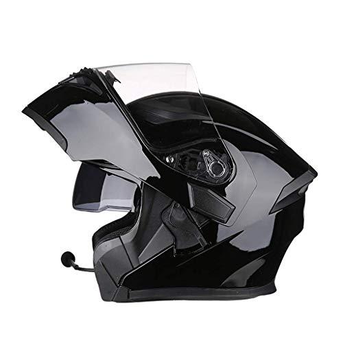 OUTO Aufdeckende Helm Motorrad Outdoor Riding Bluetooth Kopfhörer HD Anti-Fog-Spiegel Full Face Helm Männer Und Frauen Kühle Persönlichkeit (Farbe : Bright Black, größe : M)