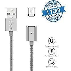 Rewy 2 in 1 Magnetic Charging Cable Magnetic Data Cable with 2 Charging Connectors To Support Both Apple & Android Charging Inbuilt USB Fast & Quick Magnetic Charging and Magnetic Data Sync 100CM 2.4A - Color may vary