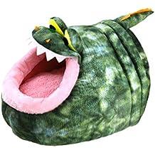 UKCOCO Cueva para Animales Pequeños con Diseño de Cocodrilo, Lavable Invierno Cama Suave Cálido,