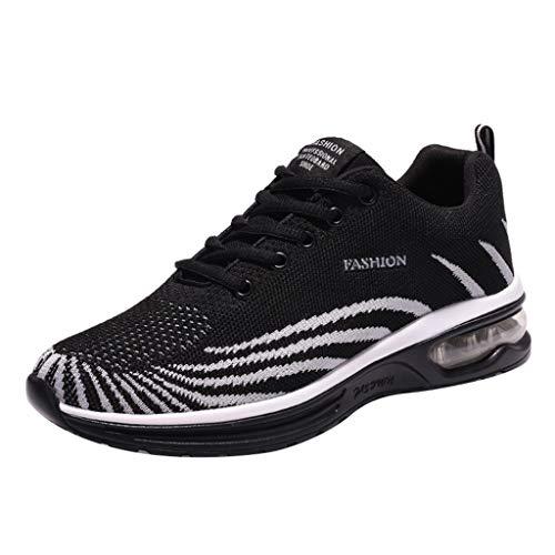 Scarpe Cushioning Trail Running Runner Fly Knit Scarpe Casual Traspiranti Moda Air Cushion Bottom Sneakers Scarpe Uomo (39 EU,Nero)