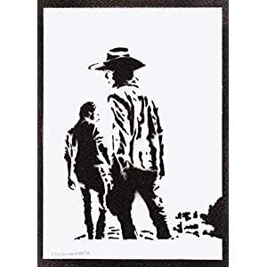 Carl und Rick Poster The Walking Dead Plakat Handmade Graffiti Street Art – Artwork