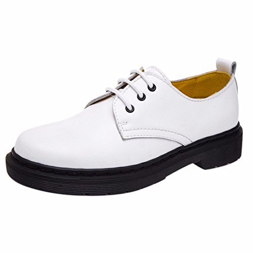 Cuir Style Etudiant Chaussures Femmes Celibataires Bout Rond Talon Plat Chaussures Martin Blanc