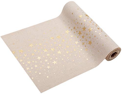 100% Mosel Tischläufer Sterne Gold, 5 m x 28 cm, Naturoptik | Tischband | Tischdeko Weihnachten +...