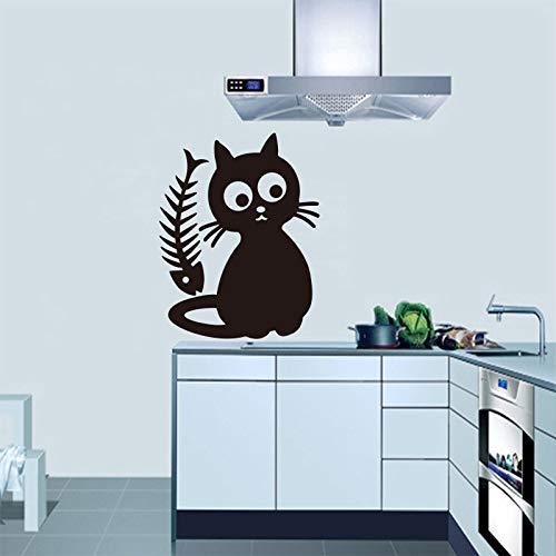 Nette Katzenfutter Abnehmbare Vinyl Wandaufkleber Aufkleber Kunst Küche Fliesen Kühlschrank Tapete Kinderzimmer Dekoration orange 35x45 cm - Wachsen Kühlschrank