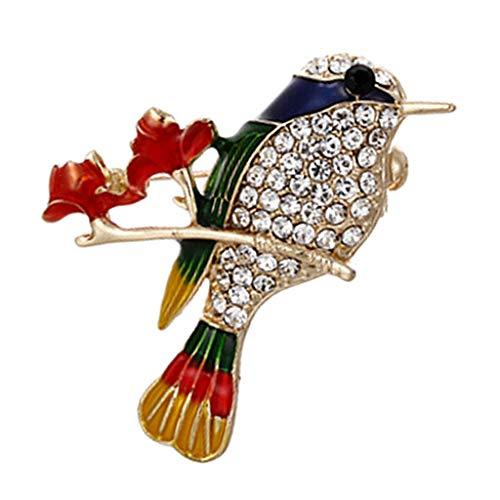 Vogel Kostüm Muster - Baoblaze Vintage Bunte Vogel Muster Brosche Kristall Strass Metall Kostüm Pins Modeschmuck - Blau