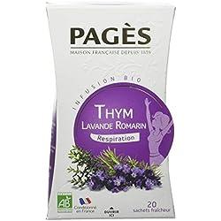 PAGÈS Infusion Thym Lavande Romarin Bio 20 Sachets 30 g - Lot de 4