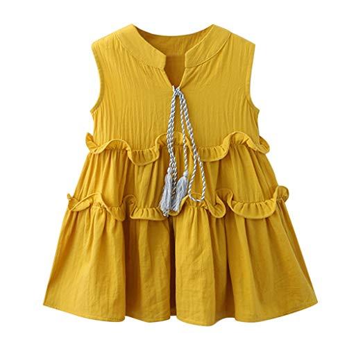 Geburtstag Mädchen Cap Sleeve T-shirt (KIMODO Kleinkind Baby Mädchen Kleid Rüschen Einfarbig Kleider Ärmellos Tüll Tütü Urlaub Prinzessin Sommerkleid Outfit Kleidung)