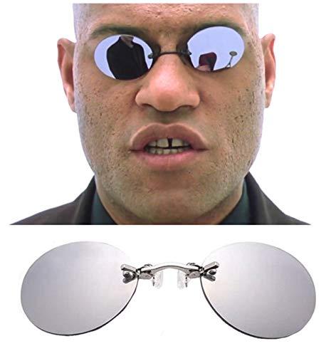 Access All Areas Sonnenbrillen zum Anklipsen, verspiegelt, rund, zum Anklipsen, Neo, Film, Steampunk-Kostüm, Sci-Fi