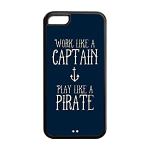 Unique Work Like A Captain Play Like A Pirate--Durable Case Cover For iPhone 5c