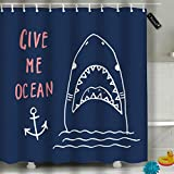 Randell Bathroom Shower Curtain Cute Shark Sketch Give Me Ocean Waterproof Fabric Shower Curtain 60(W) X 72(L) Inches For Men Women Kids