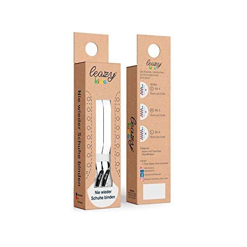 leazy kids elastische Schnürsenkel - Bietet einen perfekten Sitz und stabilen Halt für Kinder (M: Bis 5 Ösen pro Seite, Weiß) -