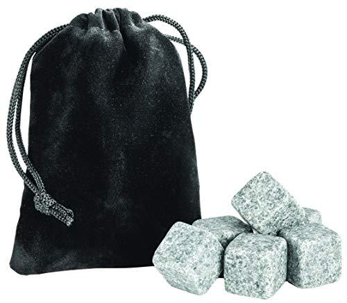 Whiskey Stones Set von 6 - Natürliches Kühlgetränk Rocks mit Tragetasche - bewahrt Geschmack wiederverwendbar Bar Getränke Geschenkset -