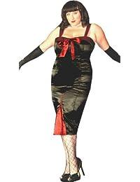 Robe Fourreau en Style Sexy Burlesque. En Noir Satin avec des Accents Rouges. Dans les Tailles 36-58