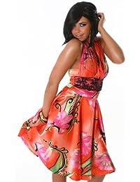 La robe en satin/en chiffon en abricot (3635)