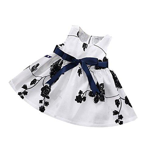 Transer' Girls Princess Dresses, Baby Kids Girls Princess Sleeveless Dress Summer Floral Party Dress (18-24 Months, Black)