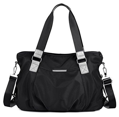 Mit Reißverschluss An Der Rückseite Nylon Tote (DCCN Damentasche wasserabweisend Nylon Handtasche Schultertasche mit Große Kapazität 42*30*13cm)