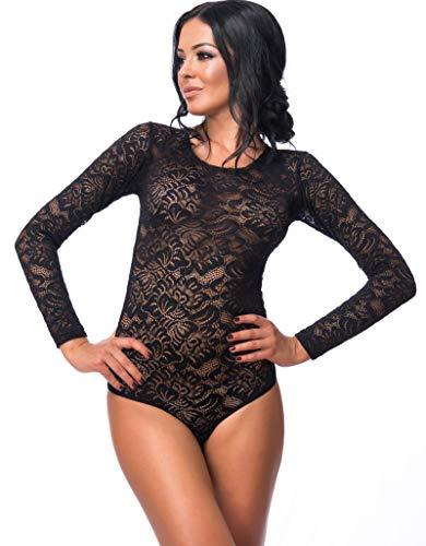 itze XXL=44 | Thong Bodysuit mit Rundhals für Frauen | Damen Langarm-Body Schwarz mit Haken-Verschluss | reizvolle Damen-Wäsche mit optimaler Passform | Top Overall |Langarm-Shirt ()