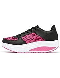 Logobeing Zapatillas de Mujer, Zapatos Planos Mujer con Cordones Adelgazar Zapatos Sneakers para Caminar Zapatillas