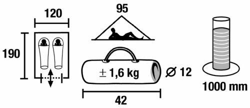 High Peak Zelt Minipack, grau/rot, 10053, 2 Personen -