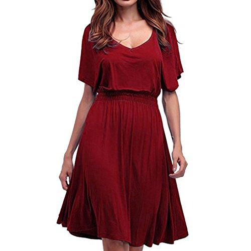 Jiameng ❤️ vestito da donna, moda semplice vestito abito tinta unita con scollo a v a maniche lunghe svasato con scollo a v di grandi dimensioni (l, rosso)