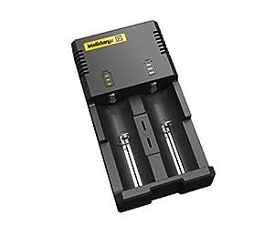 2014 Nouvelle version Nitecore I2 Universal Chargeur intelligent noir pour deux batteries compatibles avec IMR / Li-ion 26650 22650 18650 18490 18350 17670 17500 17335 16340 14500 10440 RCR123 Ni-MH / Ni-Cd AA AAA AAAA C Conçu pour la sécurité dans Top UTILISATION ignifuge matériaux intelligents dans le monde Circuits assurance entrée AC 100-240V 0.25A (Max) DC 12V 1A 4.2V de sortie / 1.48V 0,5 * 2   certifié par CCE ROHS FCC et KC (Nitecore I2)