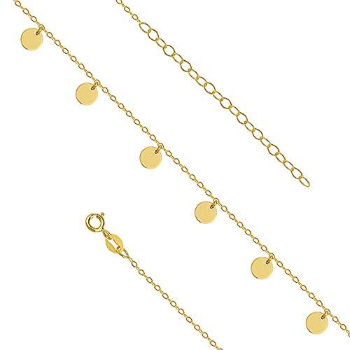 *Beforia Paris* Fußkettchen Vergoldet Silber 925 - Zirkel - Schmuck für Damen - Schmuck am Knöchel, Perfekt Geschenk, im Urlaub PIN/75 -