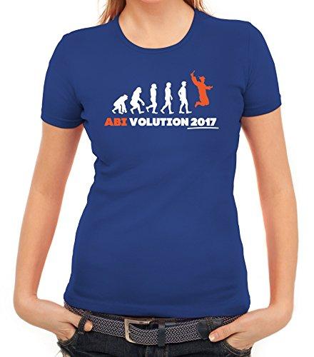 Abschluss Abitur Damen T-Shirt mit Abi Evolution 2017 von ShirtStreet Royal Blau