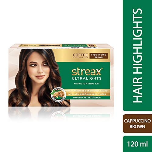 Streax Ultralights Highlighting Kit for Women & Men | Contains Walnut & Argan Oil | Shine On Conditioner | Longer Lasting Highlights | Coffee Collection - Cappuccino Brown | 120 ml