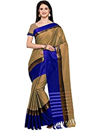 AppleCreation Women's Cotton Silk Saree With Blouse Piece (sarees New Collection KVS131J_Beige)
