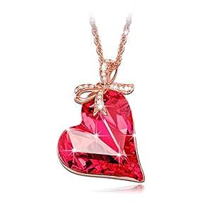 Lady colour Regalo Amore Collana donna con cristalli da Swarovski cuore Gioielli regalo donna compleanno festa della mamma regalo san valentino regalo natale regali per lei amica anniversario moglie