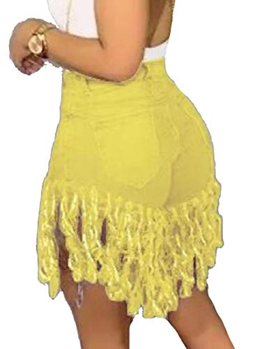 Ausgefranste Saum Kurze (security-Shorts für Damen, Jeanshose, hohe Taille, ausgefranste Saum, Quasten, Kurze Hose Gr. Medium, gelb)