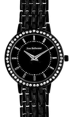 Jean Bellecour - REDS16-BB - Montre Femme - Quartz Analogique - Cadran Noir - Bracelet Acier plaqué Noir