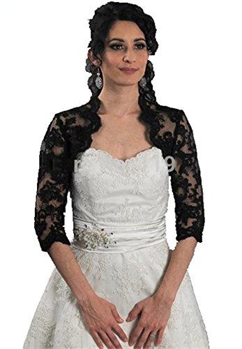 Bridal Lace Jacke (Meibida Damen Jacke, Schwarz, MBD539 Black Lace Bridal Jacket)