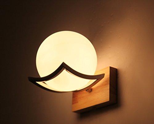 Bois Minimaliste Creative LED Lampe de mur de style japonais, Salon Couloir Couloir Chambre chevet Applique murale