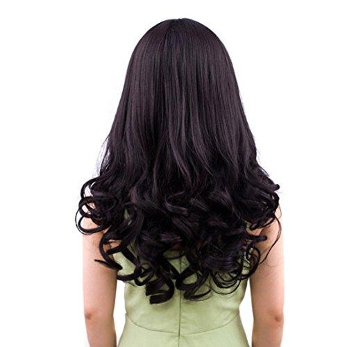 Alle Arten von Perücke, Full Head Lange Curly Wave Haar Straight Perücke Haar Stücke Bobed Perücke für Frauen (Lange lockige Perücke-Schwarz (Perücken Glitzer)