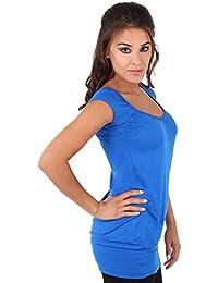 KRISP® Femmes Haut Tunique Uni Col V Casual Sexy Manches Courtes Top Grand Taille