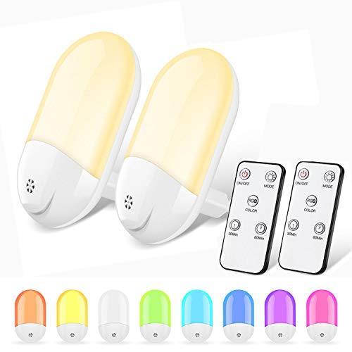 Nachtlicht Steckdose - RGB Farbwechsel Dimmbar Fernbedienung LED Nachtlicht Steckdose mit Dämmerungssensor, Automatisch LED Nachtlicht Steckdose Baby für Kinderzimmer, Schlafzimmer, Badezimmer