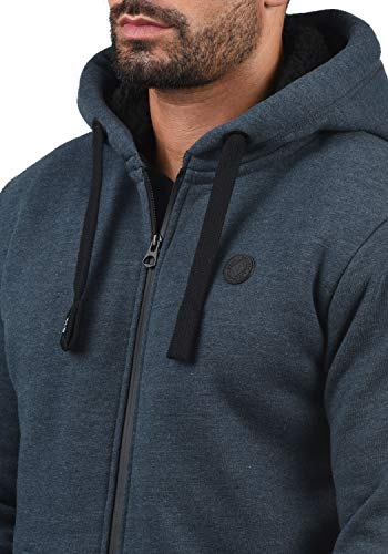 !Solid Bene Zip Hood Pile Herren Winter Sweatjacke Kapuzen-Jacke Zip-Hoodie Pullover mit Kapuze und Teddy-Futter, Größe:S, Farbe:INS BLU M (P8991) - 4