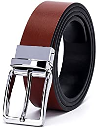 Fine Men's Dress Top Leather Reversible Belt-Classic Designs-Removable Buckle