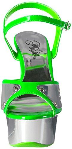Pleaser delight-609nc Neon Green/Slv Chrome